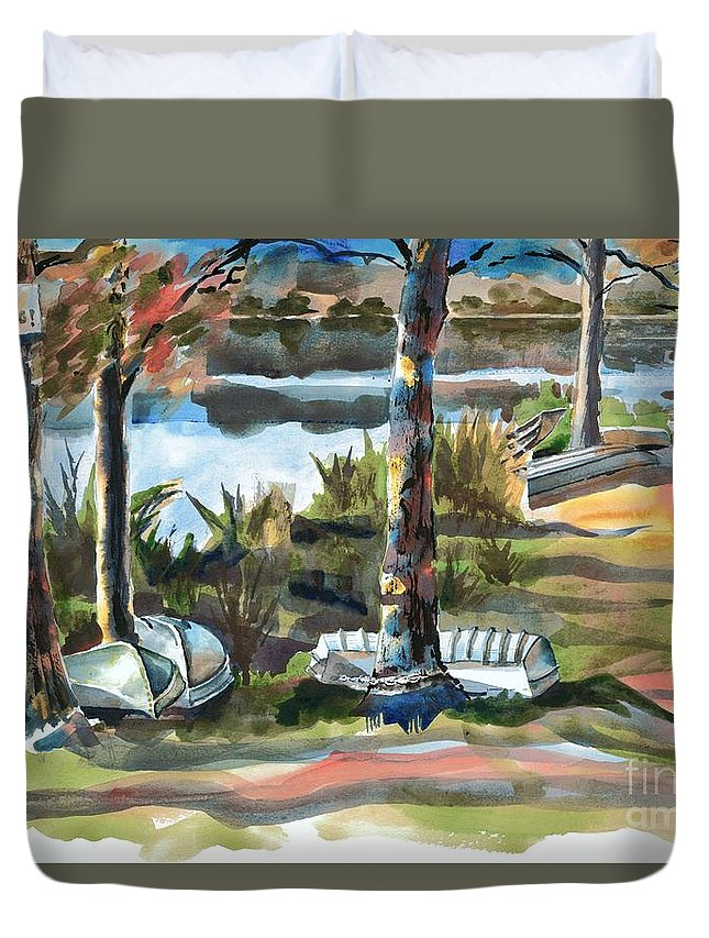 Evening Shadows At Shepherd Mountain Lake No W101 Duvet Cover featuring the painting Evening Shadows At Shepherd Mountain Lake No W101 by Kip DeVore