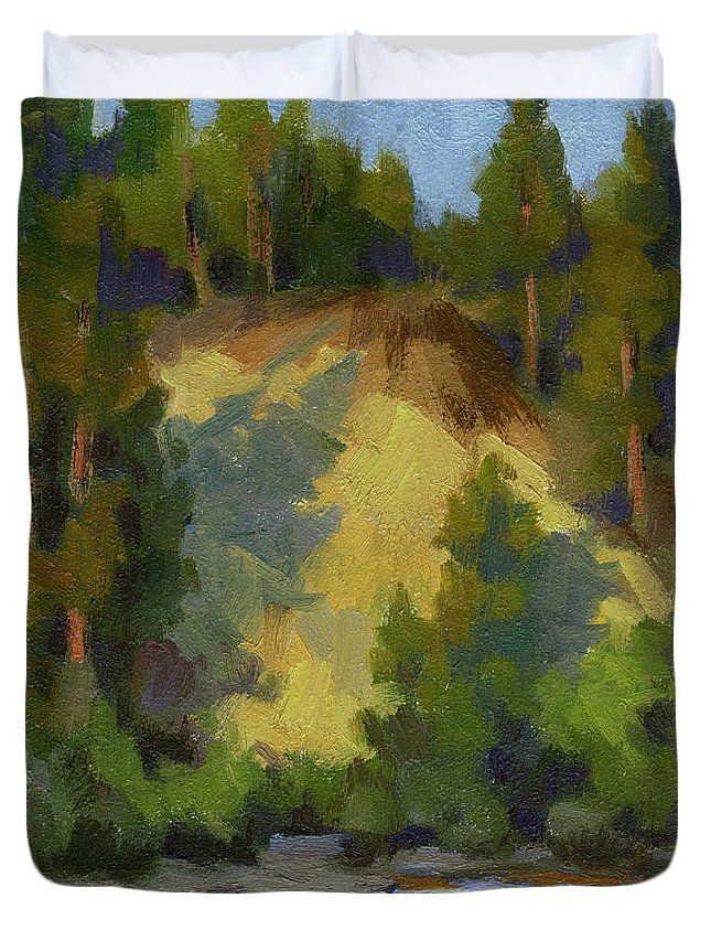 Evening Duvet Cover featuring the painting Evening Shadows Teanaway River by Diane McClary