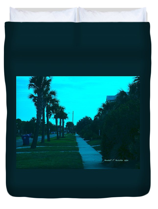 Kendall Kessler Duvet Cover featuring the photograph Evening Stroll At Isle Of Palms by Kendall Kessler