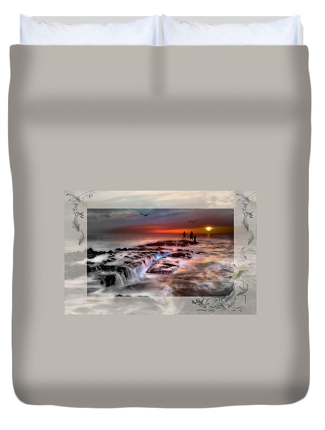 Beach Duvet Cover featuring the photograph Evening Stroll At The Beach -featured In 'cards For All Occasions'comfortable Art' 'digital Veil by Ericamaxine Price