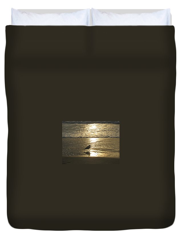 Beach Duvet Cover featuring the photograph Evening Stroll For One by Judith Morris
