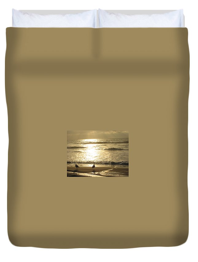 Beach Duvet Cover featuring the photograph Evening Stroll by Judith Morris