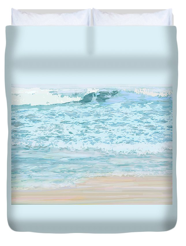 Ocean Duvet Cover featuring the digital art Evening Surf by Ian MacDonald