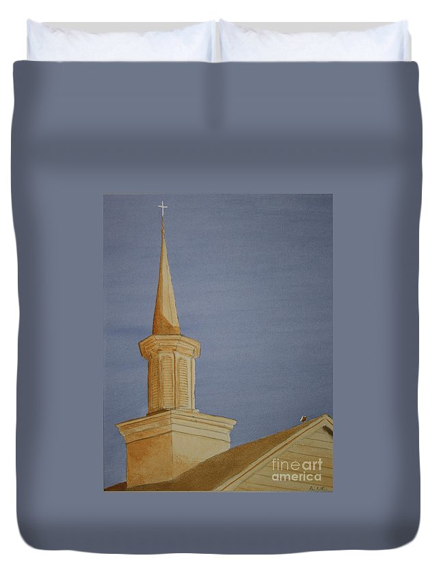 Jesus Duvet Cover featuring the painting Evening Worship by Stacy C Bottoms