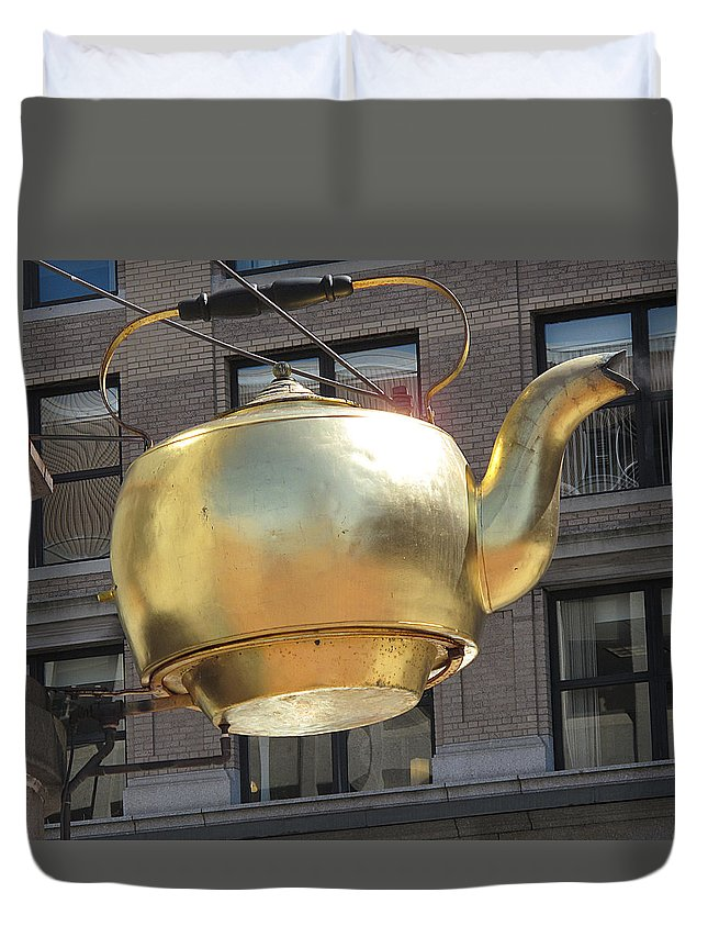 Tea Pot Duvet Cover featuring the photograph Ever Steaming Kettle by Barbara McDevitt