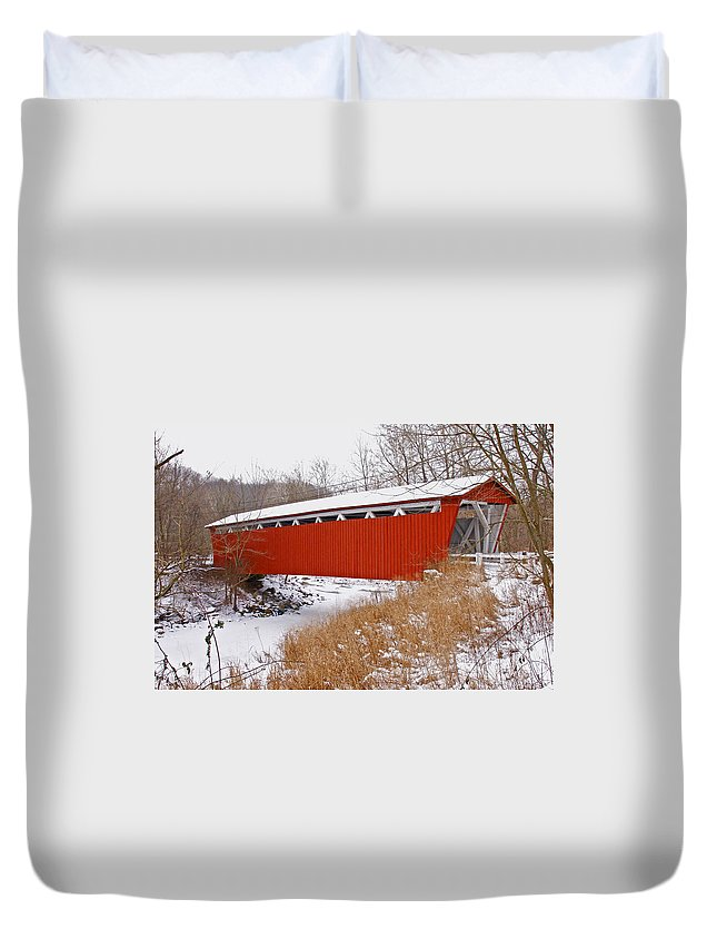 Ohio Duvet Cover featuring the photograph Everett Rd. Covered Bridge In Winter by Jack R Perry