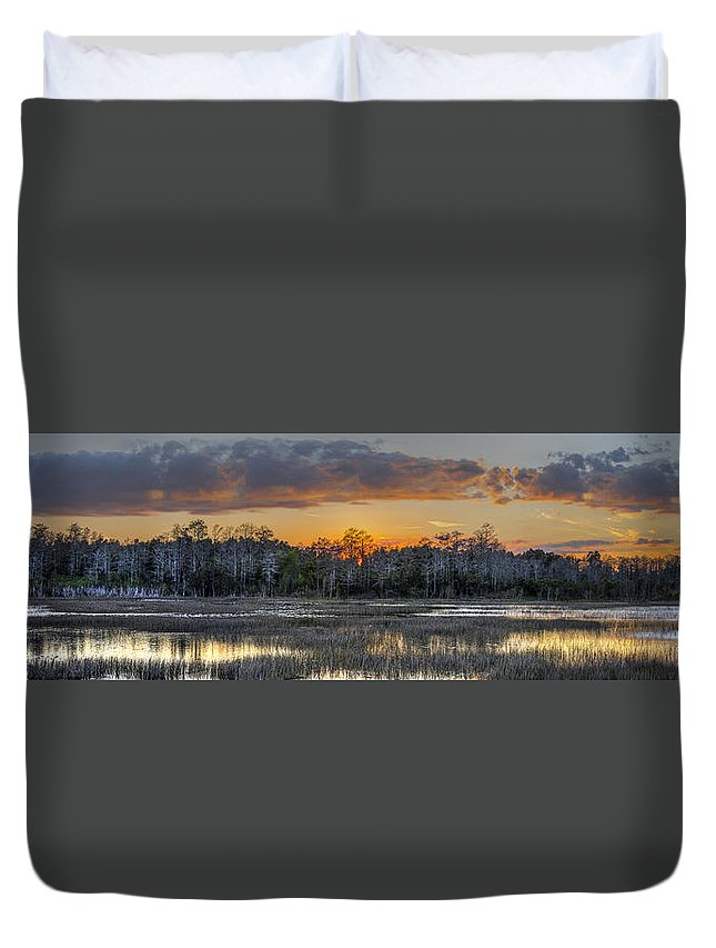 Butcher Duvet Cover featuring the photograph Everglades Panorama by Debra and Dave Vanderlaan