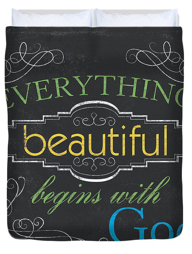 Chalkboard Duvet Cover featuring the painting Everything Beautiful by Debbie DeWitt