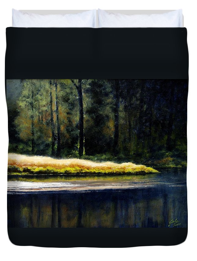 Painting Duvet Cover featuring the painting Evetide by Jim Gola