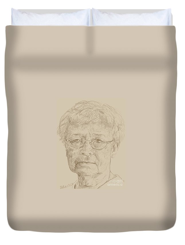 Memory Care Duvet Cover featuring the drawing Evette by PainterArtist FIN