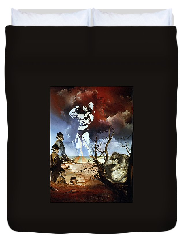 Surrealism Duvet Cover featuring the painting Evolution by Otto Rapp