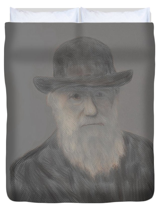 Darwin Duvet Cover featuring the painting Evolution Stage One Of Three by Scott Bowlinger