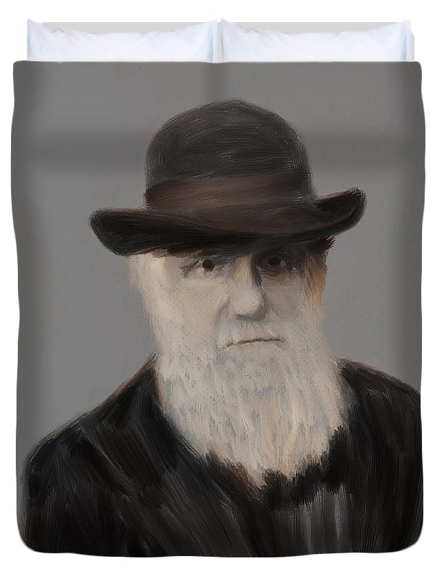Darwin Duvet Cover featuring the painting Evolution Stage Two Of Three by Scott Bowlinger