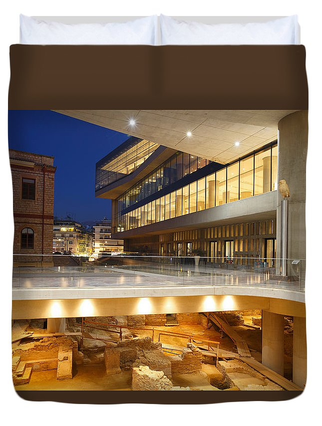 Excavation Duvet Cover featuring the photograph Excavations At Acropolis Museum by Milan Gonda