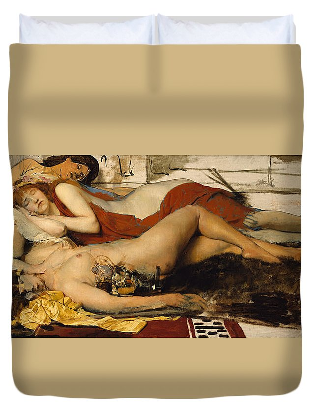 Nude Duvet Cover featuring the painting Exhausted Maenides by Sir Lawrence Alma Tadema