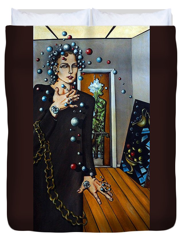 Surreal Duvet Cover featuring the painting Existential Thought by Valerie Vescovi