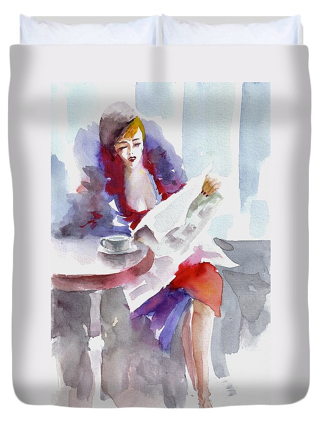 Woman Duvet Cover featuring the painting Expectation.. by Faruk Koksal