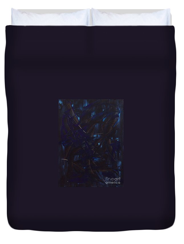 Abstract Duvet Cover featuring the painting Expectations Blue by Dean Triolo