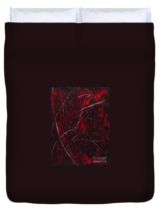 Abstract Duvet Cover featuring the painting Expectations Red by Dean Triolo