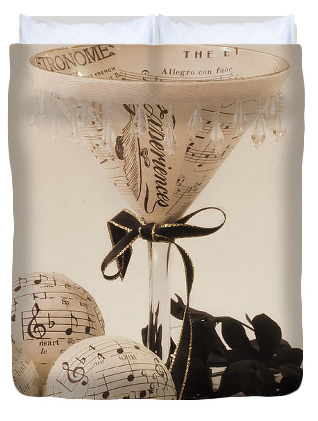Music Martini Glass Duvet Cover featuring the photograph Experiences by Sandra Foster