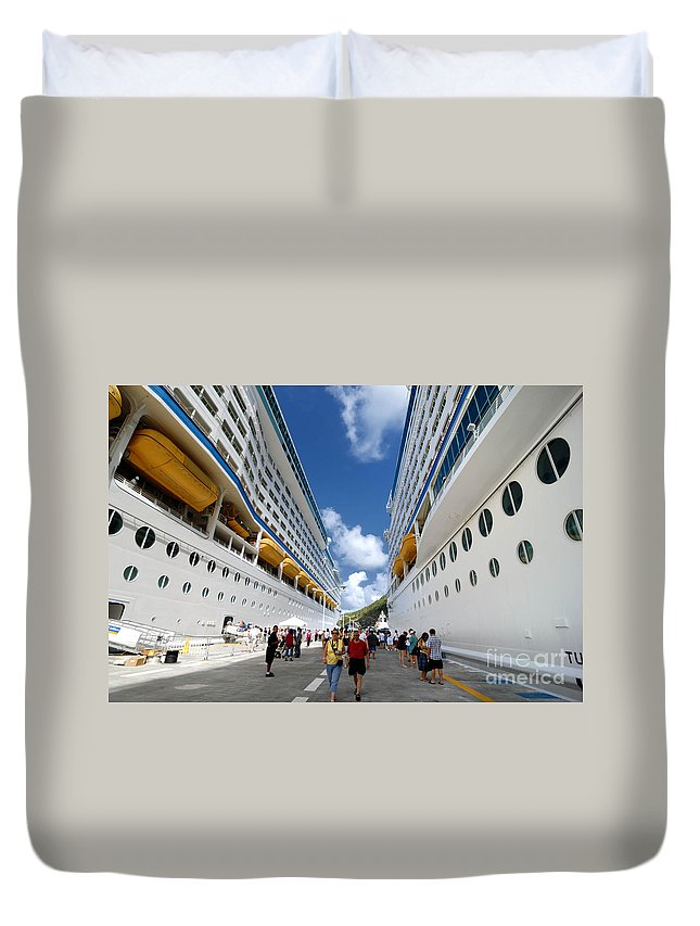 Adventure Of The Seas Duvet Cover featuring the photograph Explorer Of The Seas And Adventure Of The Seas by Amy Cicconi