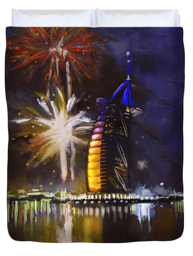 Dubai Expo Duvet Cover featuring the painting Expo Celebrations by Corporate Art Task Force
