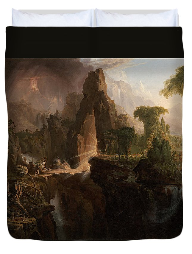 Thomas Cole Duvet Cover featuring the painting Expulsion From The Garden Of Eden by Thomas Cole