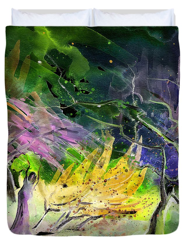 Fantasy Duvet Cover featuring the painting Expulsion by Miki De Goodaboom