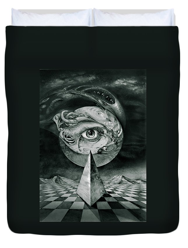 otto Rapp Surrealism Duvet Cover featuring the drawing Eye Of The Dark Star by Otto Rapp