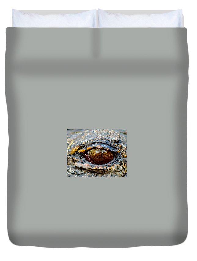 Alligator Duvet Cover featuring the photograph Eye Of The Dragon by Shannon Harrington