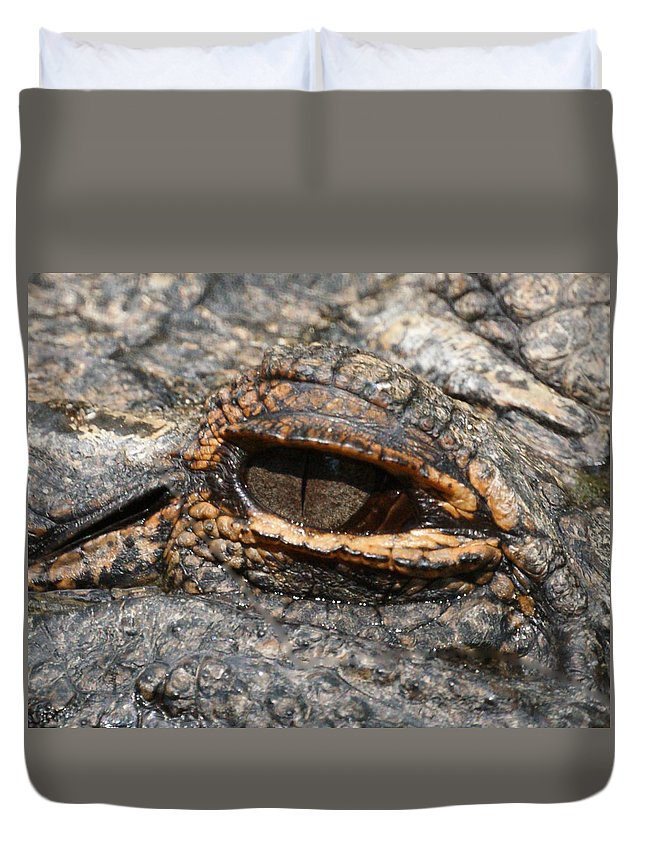 Alligator Duvet Cover featuring the photograph Eye Of The Gator by Ernie Echols