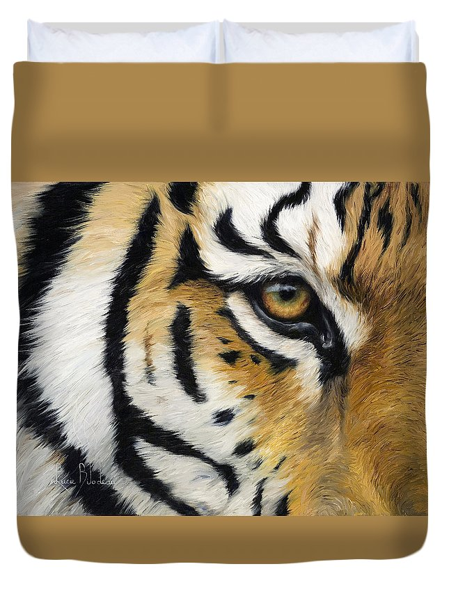 Cat Duvet Cover featuring the painting Eye Of The Tiger by Lucie Bilodeau
