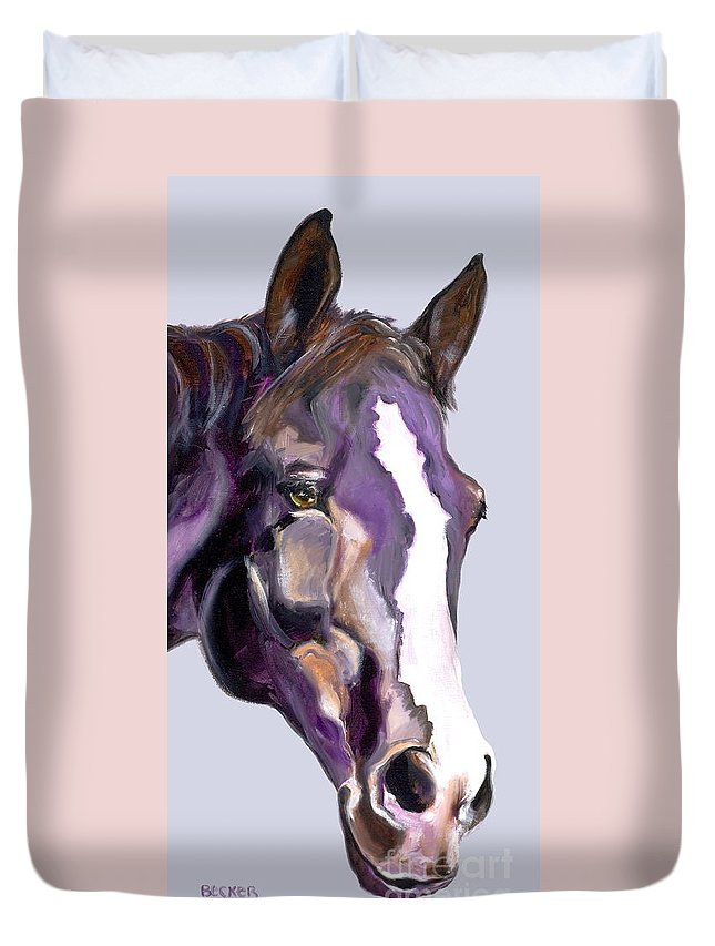Thoroughbred Duvet Cover featuring the painting Eye On The Prize by Susan A Becker