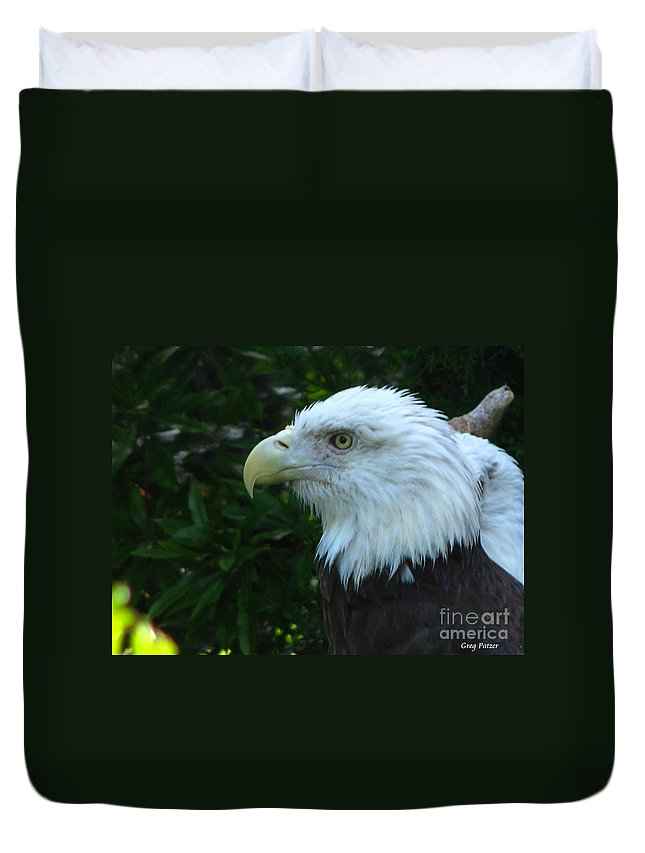 Eagle Duvet Cover featuring the photograph Eyecon by Greg Patzer