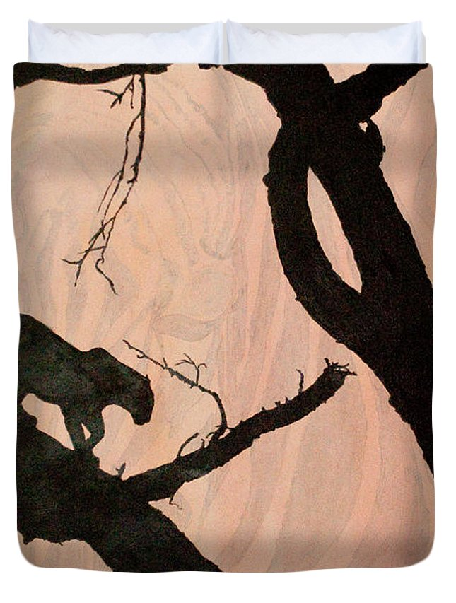 Panther Duvet Cover featuring the painting Eyeing The Panther by Paulette B Wright