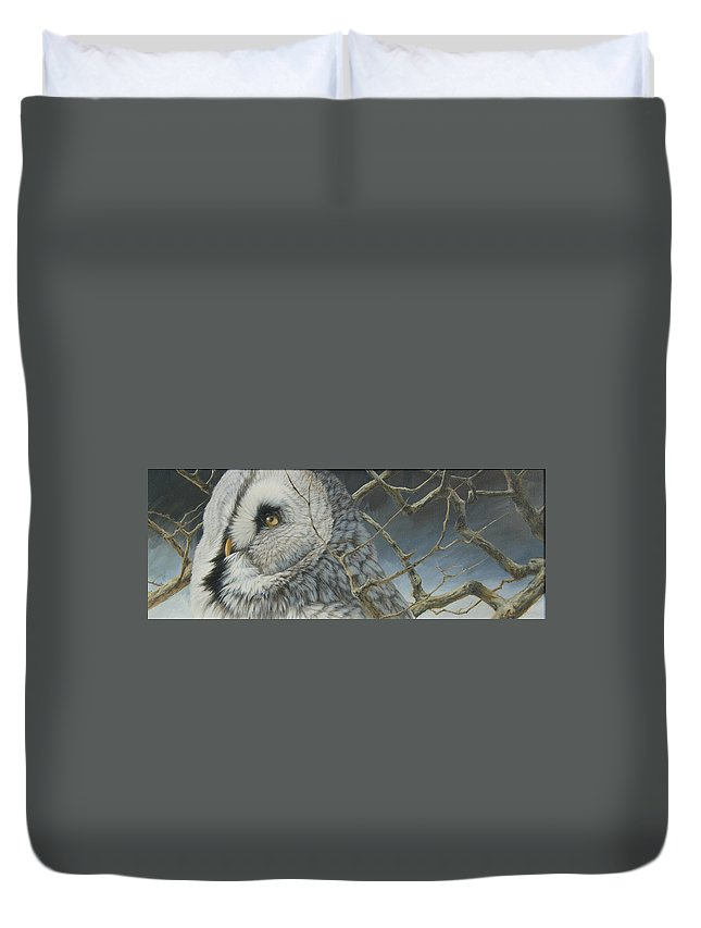 Wildlife Duvet Cover featuring the painting Eyes Of The Taiga by Clare Shaughnessy