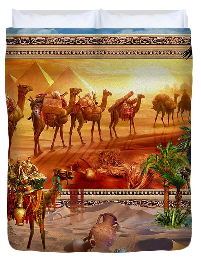 Egypt Duvet Cover featuring the digital art Eygptian Scene by Jan Patrik Krasny