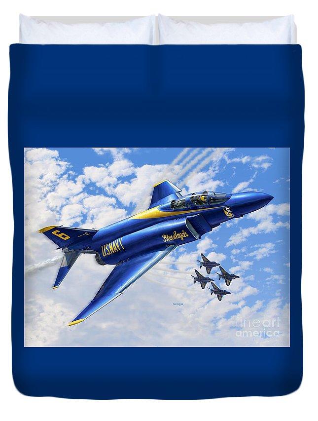 F-4 Duvet Cover featuring the digital art F-4 Phantoms In Blue by Stu Shepherd