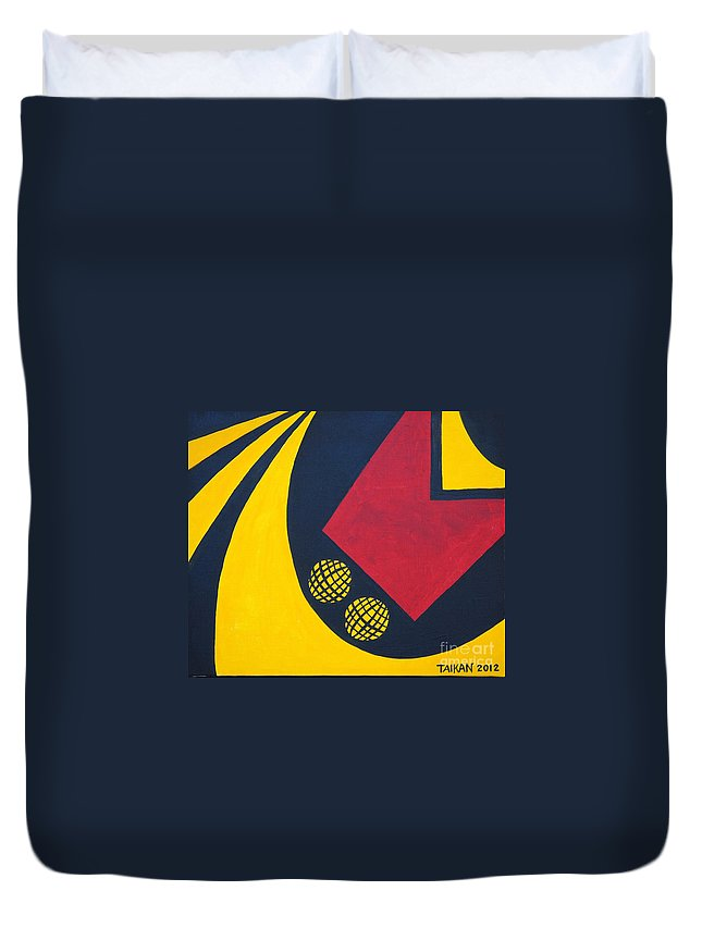 F1 Duvet Cover featuring the painting F1 by Taikan Nishimoto