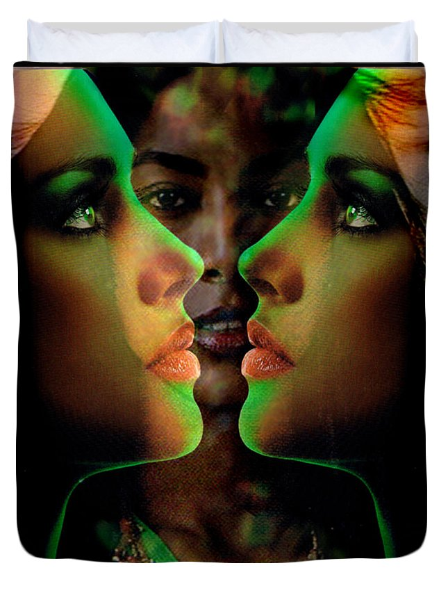 Women Duvet Cover featuring the digital art Face 2 Face by Seth Weaver