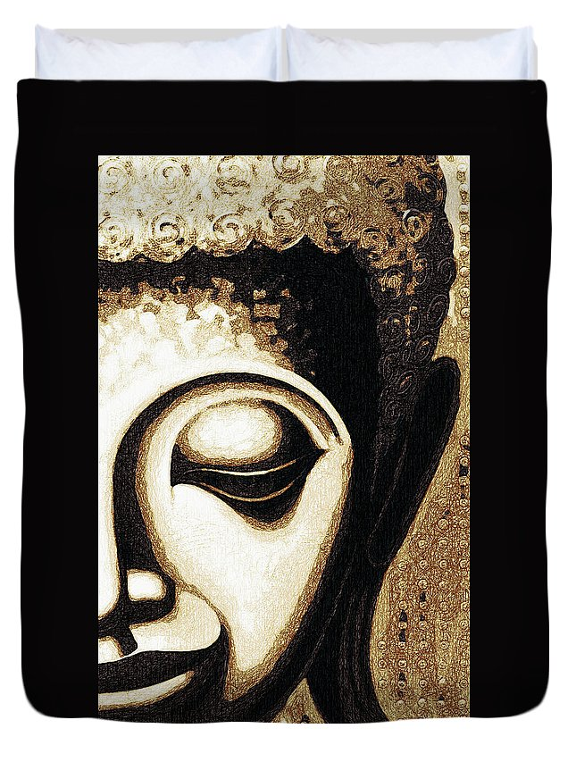 Face Duvet Cover featuring the digital art Face Color Lino by David Lange