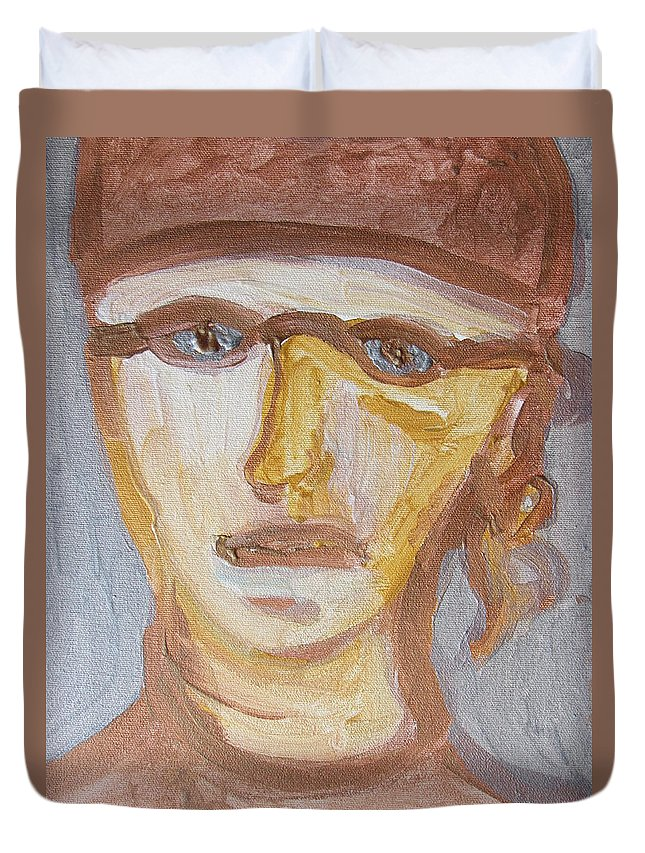 Face Duvet Cover featuring the painting Face Five by Shea Holliman