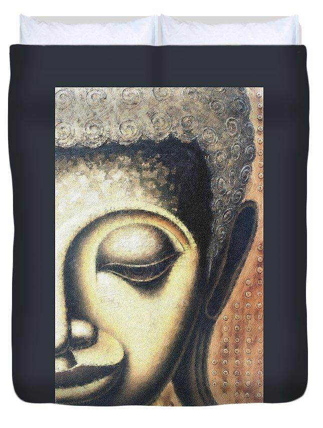 Face Duvet Cover featuring the digital art Face Pastel Chalk 2 by David Lange