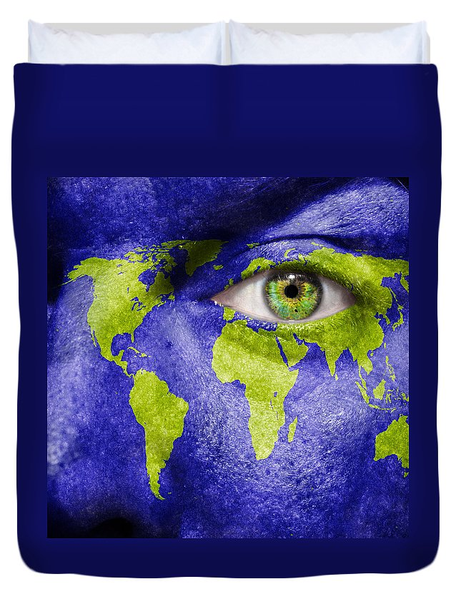 Art Duvet Cover featuring the photograph Face The World Map by Semmick Photo