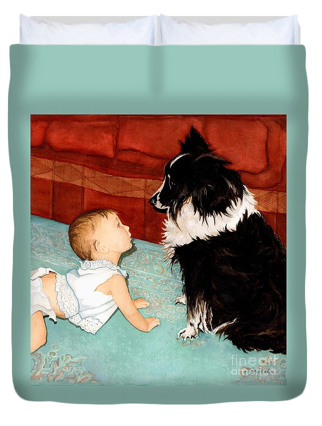 Child Duvet Cover featuring the painting Face-to-nose by Barbara Jewell