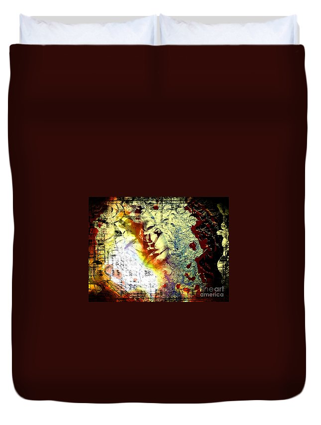Faces Duvet Cover featuring the painting Faces 8 by Lady Ex