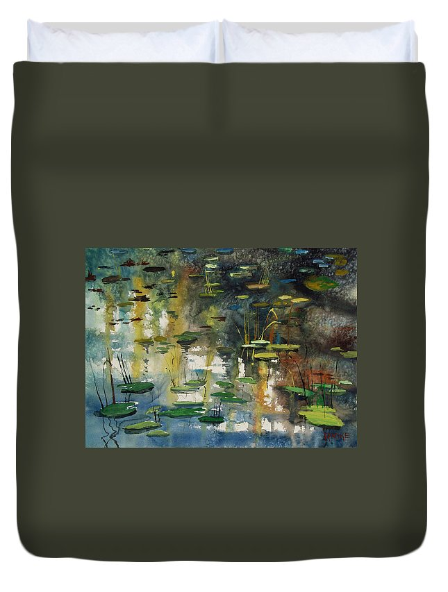 Watercolor Duvet Cover featuring the painting Faces In The Pond by Ryan Radke