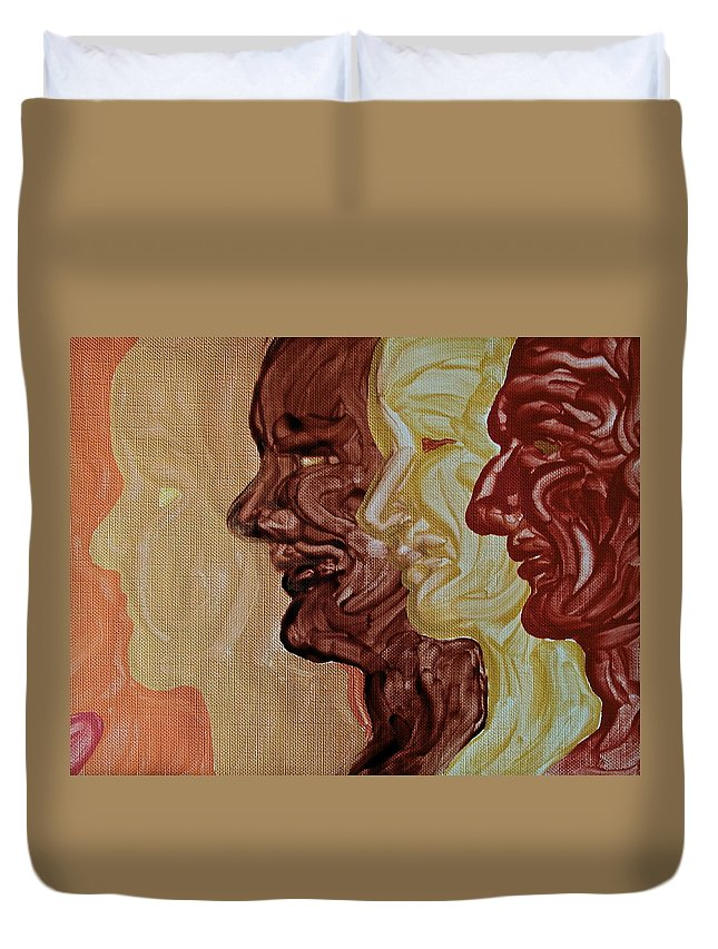 Faces Duvet Cover featuring the painting Faces by Michele Myers