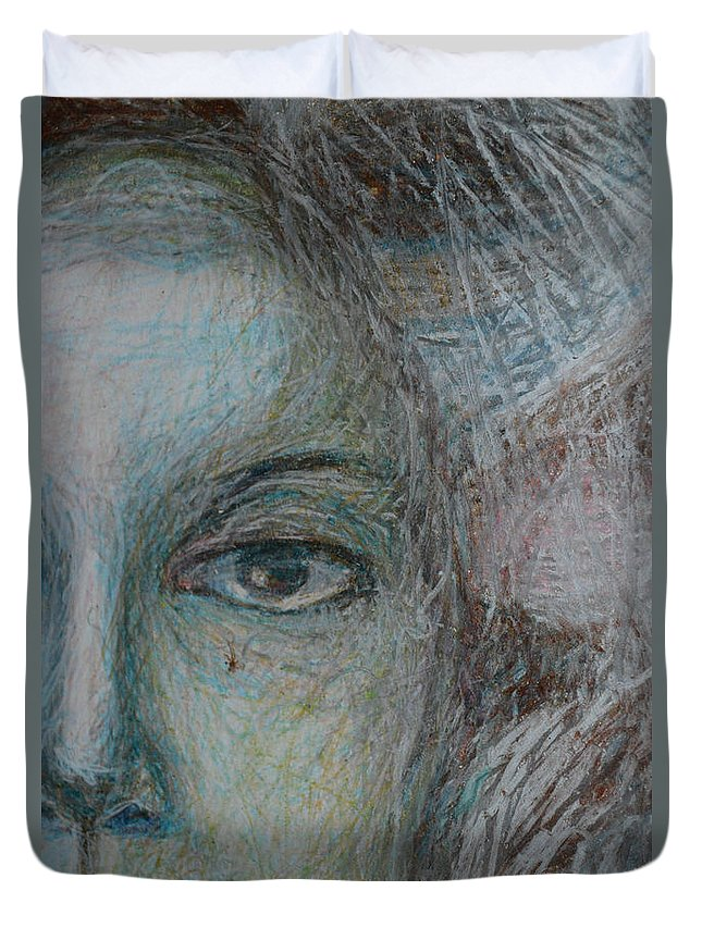 Abstract Modern Raw Folk Outsider Portrait Face Woman Figure Hair Neck Duvet Cover featuring the painting Faces - Right by Nancy Mauerman