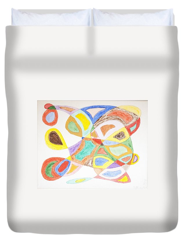 Abstract Duvet Cover featuring the painting Masks by Stormm Bradshaw